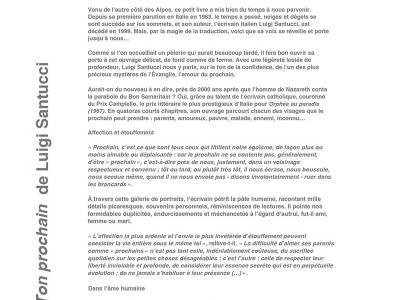 """Recension de La Croix à propos de """"Ton prochain"""" de Luigi Santucci"""