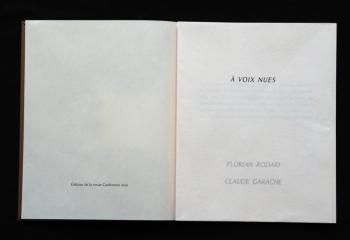 À VOIX NUES de Florian Rodari, gravures de Claude Garache.